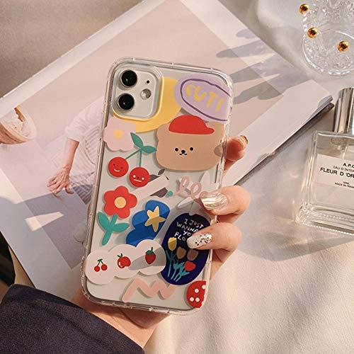 Funda para iPhone 11 pro max xs max xs xr 6s 6 7 8 plus se 2020 5s 5 transparente floral de dibujos animados de silicona suave TPU cubierta protectora, para iPhone 7 8