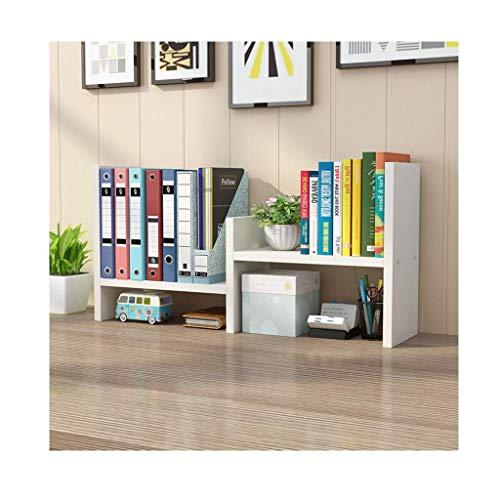 Desktop Bookshelf Expandible Encimera Librería Oficina Suministros de oficina Almacenamiento de madera Escritorio Organizador Estilo libre Pantalla Decoración de estante (color: blanco, tamaño: a)