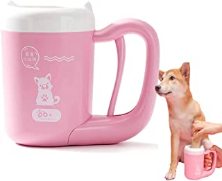 猫犬足洗いカップ ペット 足用クリーナー 半自動式 360°回転 洗浄力抜群 抗菌シリコーン製 ペットブラシ付き 足の汚れ 洗浄でき 飛沫を溢れる防止 小型/中型犬 (S, Pink)