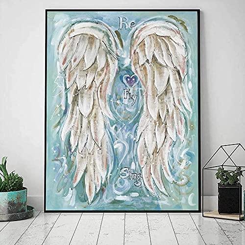 Fotos de asas de anjo para decoração de casa Posters e impressões de parede da sala de estar Pintura em tela de parede Pôster com símbolo musical abstrato 40X60cm (16x24 polegadas) Sem moldura