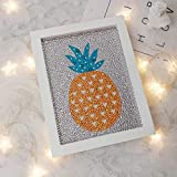 RM Studio DIY Diamond Painting Kits for Kids Adult Full Round Drill Arts Craft with Frame and Tools Use for Home Wall Decorations (Pineapple-8'', 8 inch)