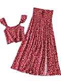 SheIn Women's Floral Two Piece Outfit Shirred Cami Crop Top and Split Long Skirt Set Red Large