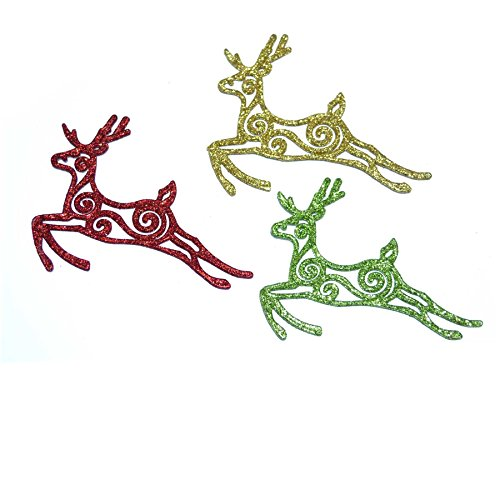 Gifts 4 All Occasions Limited SHATCHI Lot de 3 décorations à Suspendre pour Sapin de Noël Motif Rennes