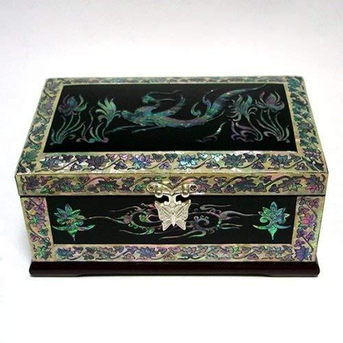 Nacre Phénix Design noir laqué bois asiatique Secret Coffret à bijoux fait à la main avec miroir Keepsake Boîte à Bague coffre de rangement pour montre