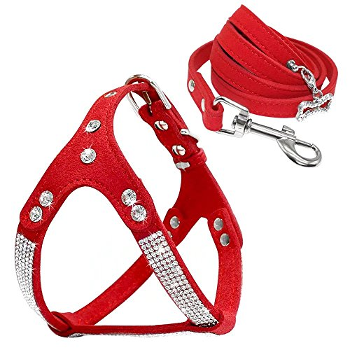 Beirui Soft Suede Rhinestone Leather Dog Harness Leash Set Cat Puppy Sparkly Crystal Vest & 4 ft Lead for Small Medium Cats Pets Chihuahua Poodle Shih Tzu,Red,Small Chest for 14-15.5
