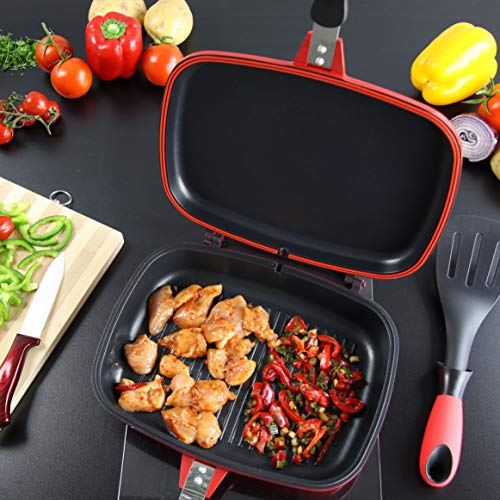 SQ Professional NEA Grill Die-Cast Magic Pan 32cm Double Sided (Rossa)