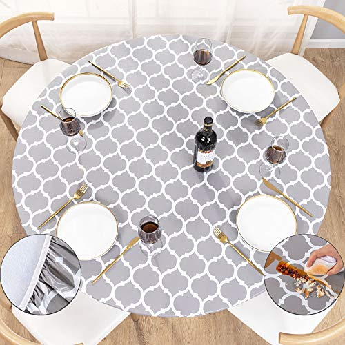 UMINEUX Round Fitted Vinyl Tablecloth with Elastic Edged & Flannel Backing, Waterproof Wipeable Round Table Cover for Indoor Outdoor Patio Use - Fits Tables up to 40' - 44' Diameter(Gray Moroccan)
