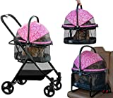 Pet Gear View 360 Pet Stroller Travel System 3-in-1 Carrier, Booster Seat and Stroller with Push Button Entry, Pink Floral (PG8140NZPF)