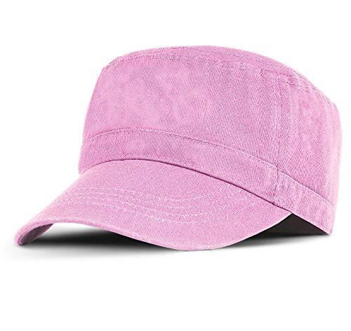 Military Cadet Cap Washed Cotton Twill Plain Flat Top Baseball Golf Cap Pink