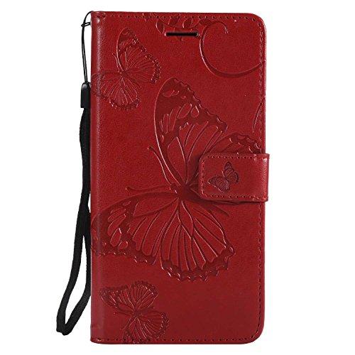DENDICO Cover Moto G5 Plus, Pelle Portafoglio Custodia per Moto G5 Plus Custodia a Libro con Funzione di appoggio e Porta Carte di cRossoito - Rosso