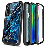 E-Began Moto G Power Case with [Built-in Screen Protector], Full-Body Shockproof Protective Bumper Cover, Impact Resist Durable Case for Motorola G Power (2020) -Marble Design Sapphire