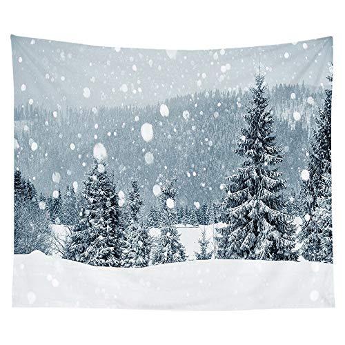 Tapiz de navidad pintura de acuarela impresión de árboles de navidad tela colgante de interior decoración de la pared tela de fondo tela a10 130x150cm