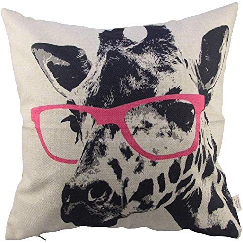 Hosl Throw Pillow Cover Throw Pillow Case(Giraffe Wearing Glasses)