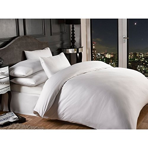 Grovesnor Satin Stripe Cotton Rich 1000 Thread Count Duvet Cover Bedding Set, King Size, Polycotton, White