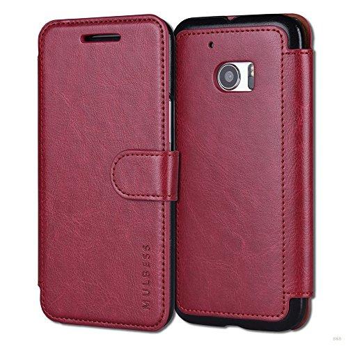 Mulbess Handyhülle für HTC 10 Hülle Leder, HTC 10 Handy Hüllen, Layered Flip Handytasche Schutzhülle für HTC 10 Hülle, Wein Rot