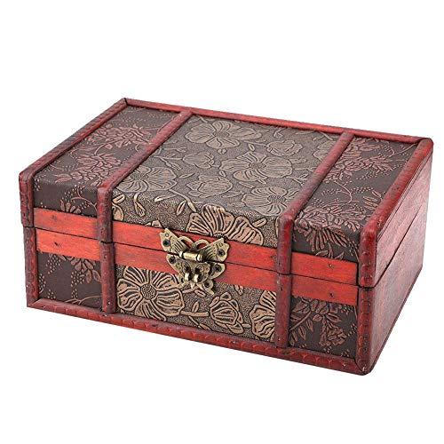 Zyyini houten opbergdoos, A4 groot formaat vintage houten sieraden boek opbergtas organizer voor winkel boeken, documenten, sieraden, enz