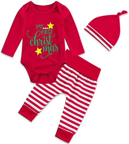 My First Christmas Toddler Baby Christmas Outfits Set Onesie 6 Months Long Sleeve Crewneck Clothes Bodysuit for Baby Coming Home 6-12 Months