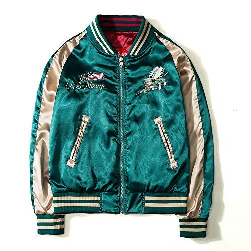 hjkg Bomberjacke,Japan Yokosuka Stickerei Beide Seiten Tragen Mode Vintage Baseball Uniform Mode Lässig Bequem Warm Outwear Streetwear Frauen Männer Unisex, 3XL