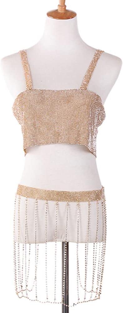 CHXISHOP Sexy Body Chain Nightclub Sling Halter Fringed Rhinestone Skirt Body Clothing Chain Set for Women and Girls Accessories Jewelry Gold