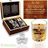 GreenCor   Anniversary Gifts for Men   Him - Whiskey Glass Gift Set   Engraved'To My Husband'   Best Husband Gifts for Birthday  Christmas   Wedding