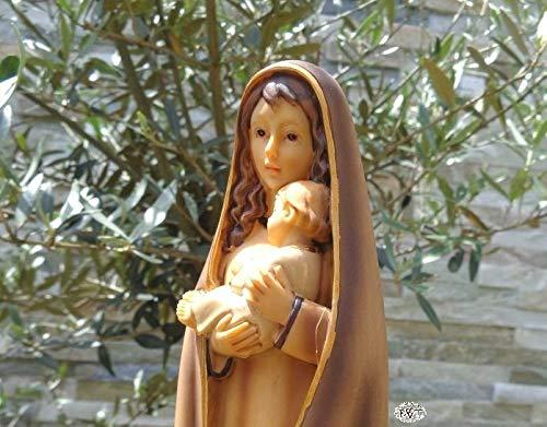 ÖLBAUM 30-31 cm Heilige Maria, HANDBEMALT & GEBEIZT - große Mutter Gottes mit Jesuskind, mit natürlich hellbraunem Kleid/Mantel, als Weiße Madonna als Symbol von Unschuld und unbefleckter Empfä