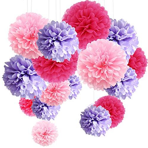 MAKFORT 15er Set Pompoms Deko Bunt Seidenpapier Pompons für Hochzeit, Geburtstag, Party Lila Rosa Rot (3pcs*30.5cm/6pcs*25cm/6pcs*15.5cm)