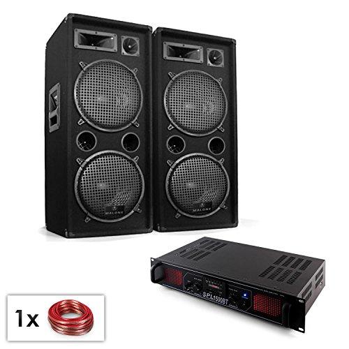 PA Set Malone SPL Bluetooth MP3 1500W DJ-PA-Anlage mit Lautsprecherboxen Paar, Verstärker und Boxenkabel (2-Etagen-Lautsprecher, mit je 2 x 30cm Subwoofer, UKW Radio, BT, USB-SD-Port) schwarz