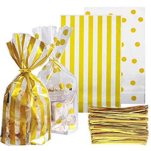 TIMOR 100 Pieces Clear Gold Polka Dot and Gold Striped Candy Bags (10 x 6 x 2.3 inch) with 200 Pieces Twist Ties for Chocolate Candy Snack Cookie Wrapping