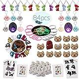 foci cozi Katze Meow Party Favors Supplies-Cat Halsketten,Armbänder,Schlüsselanhänger,Haarklammern,Tattoos,Brooch,Geschenktaschen Mädchen Goodie Bags Geburtstagsgeschenke Zubehör(84 Pcs)