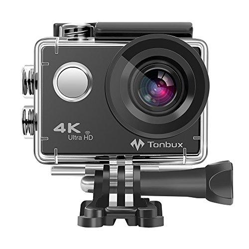 """4K Action Kamera WiFi 170°Weitwinkel Helmkamera Unterwasserkamera -VON Tonbux- 4K HD / 2\""""HD-Bildschirm/Wasserdicht 30M / 2x1050mAh Akku / 20 Zubehör/für Tauchen, Motorrad, Fahrrad Fahren usw"""