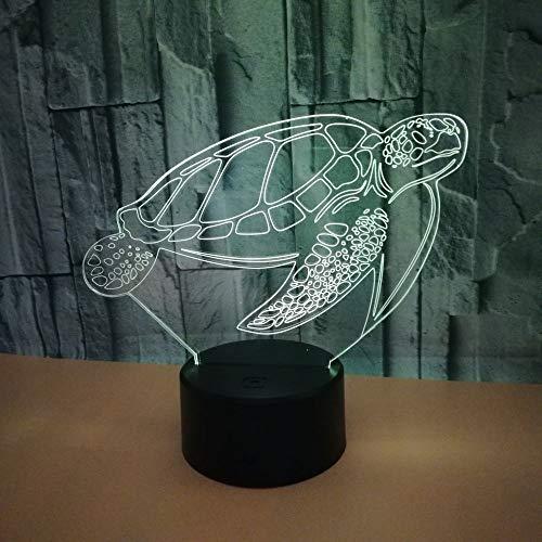 BFMBCHDJ Neue Schildkröte Bunte 3D Licht Tier Geschenk 3D Kleine Schreibtischlampe Touch Remote 3D Nachtlicht A1 Schwarz Basis