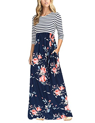 Striped Floral Waist Maxi Dress