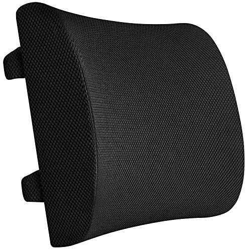 Everlasting Comfort 100% Pure Memory Foam Back Cushion - Lumbar Support Pillow for Office, Car and Chair, Black