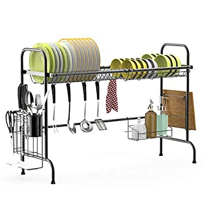 Cambond Over The Sink Dish Rack, Large Dish Drying Rack Stainless Steel Dish Drainer Shelf with Utensils Holder for Kitchen Counter by Cambond
