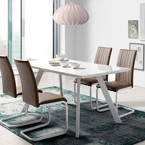 NOUVOMEUBLE Table à Manger Design Blanc laqué ZEUS