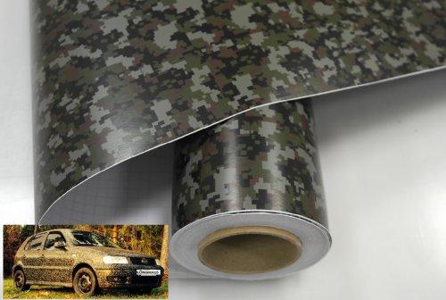 Könighaus (8,68€/m2) Woodland Digital Camo 500 x 152 cm blasenfrei mit Anleitung (Camouflage Autofolie)