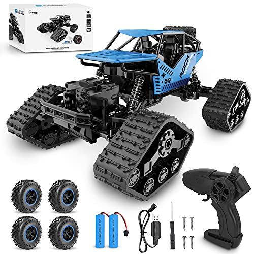 IPRSTAR 2 in 1 Remote Control Car, 1:14 Scale 4WD High Speed Off Road RC Cars, 2.4GHz All Terrains Electric Toy RC Monster Trucks Crawler with 2 Rechargeable Batteries for Adults Boys Girls Kids(Blue)