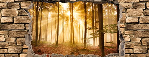 wandmotiv24 Küchenrückwand 3D Wald am Morgen - Steinmauer 160 x 60cm (B x H) - Hartschaum 3mm Nischenrückwand, Spritzschutz, Fliesenspiegel-Ersatz, Deko Küche M0661