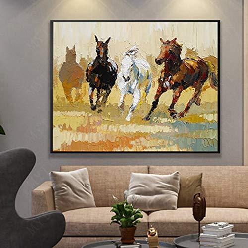 zzlzjjLopend paard Modernhandbeschilderd paard op het canvas Oliede zitkamer foto decor50cmx60cm