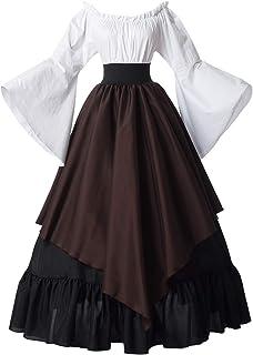 GRACEART Damen Viktorianisch Barock Rokoko Kleid Kostüm Renaissance Mittelalter Kleid L, Braun