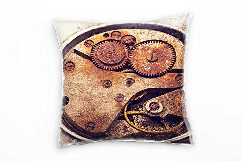 Paul Sinus Art Vintage, Macro, oud uurwerk, roest, bruin decoratief kussen 40 x 40 cm voor bank bank bank lounge sierkussen - decoratie om je goed te voelen