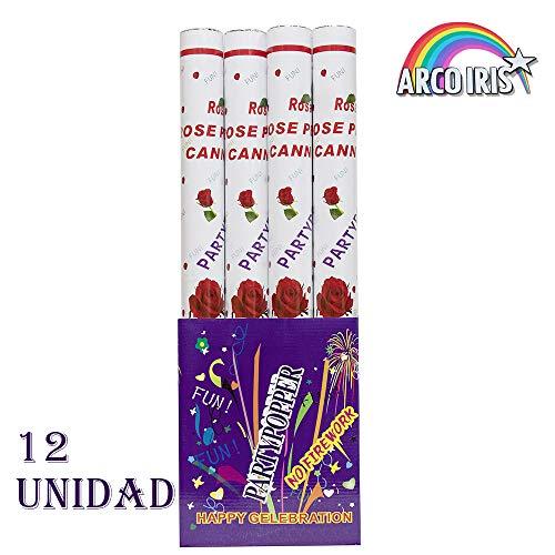 Arcoiris - Conjunto de 12 cañones de Confeti 80 cm, cañón Confeti para Bodas y cumpleaños, Efecto Altura de 6 a 8 Metro, 80 x 5 x 5 cm (Amor Rosa, 80cm x 12)