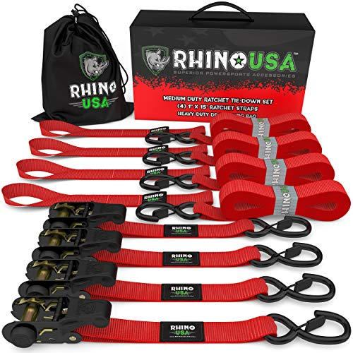 RHINO USA Ratchet Tie Down Straps (4PK) - 1,823lb Guaranteed Max Break Strength, Includes (4) Premium 1' x 15' Rachet Tie Downs with Padded Handles. Best for Moving, Securing Cargo (RED)