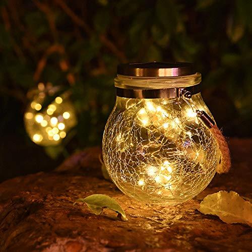 Audex Solar Garten Laterne, 30 LED Glass Solarlampen für Außen Garten Hängend Wasserfest Gartenleuchten für Balkon, Hof, Pfad Ornaments (Warmweiß, 1 Stück)