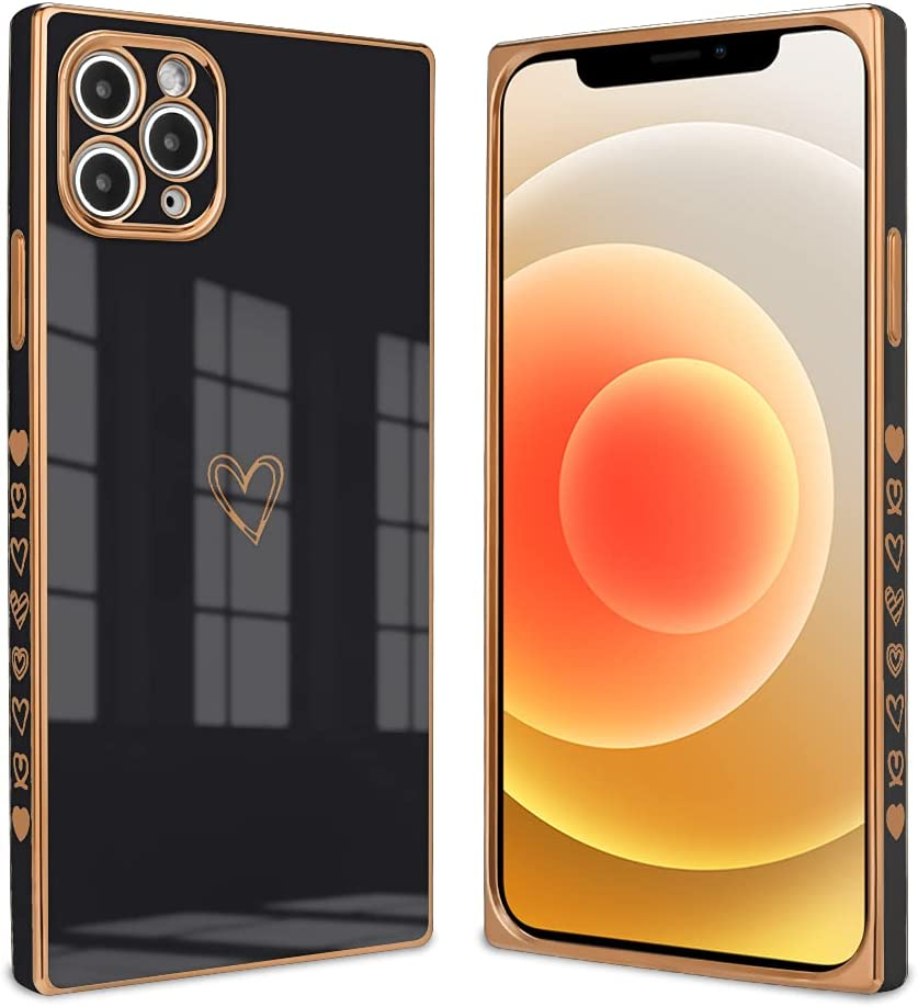 Ownest Compatible with iPhone 11 Pro Max Case,Cute Square Love Heart Pattern Design Electroplate Edge Bumper Shockproof Full Camera Lens Protective Cases for iPhone 11 Pro Max-Black