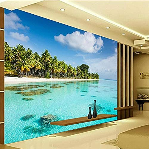 3D Bodenbelag Strand Flacher Hintergrund Foto Wallpaper für Wohnzimmer Wandbild Tapete Home Decor Wanddekoration fototapete 3d Tapete effekt Vlies wandbild Schlafzimmer-430cm×300cm