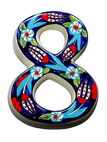 Große Keramik House Adresse Zahlen, dunkelblau, 11,9cm hoch, hand verziert, Hausnummer, Schilder, Hausnummern, Einzugs Geschenke dunkelblau