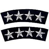 Toppa decorativa per uniforme nautica, 4 stelle argentate ricamate, toppa da cucire o appl...
