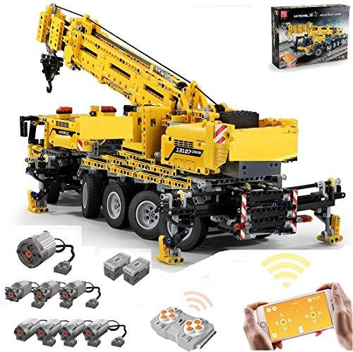PEXL Technik Kran MK II Bausteine Bausatz, 2.4G RC Technic Kran mit Fernbedienung und 8 Motoren, 2590 Klemmbausteine MOC Set Kompatibel mit Lego Technic