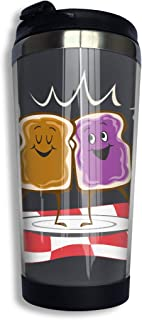 Peanut Butter And Jelly Logo Vacuum Insulated Travel Coffee Mug With Lid Funny Water Bottle For Work